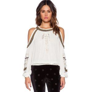 Free People Tops - Free People Boho Cold Shoulder Beaded Top Blouse
